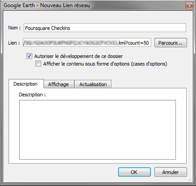 Configuration Google Earth pour un KML